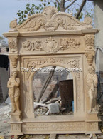 "LARGE OVERSIZED MARBLE FIREPLACE MANTEL WITH CARVED OVER MANTEL 105"" TALL"