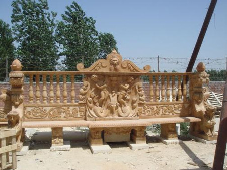"LARGE, ORNATE AND HEAVILY CARVED MARBLE BENCH IN HENAN YELLOW, 94"" WIDE, CLOSE TO 8 FOOT LONG"