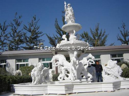 INCREDIBLE HUGE WHITE MARBLE FOUNTAIN, CARVINGS OF HORSES, SERPENTS & FISH LARGE AT 26.5FT TALL