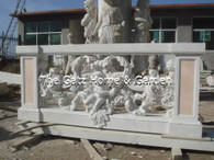 Marble Balastrade with Cherubs Measures: 6.6 feet wide x 2.8 feet high x 8 inches deep 5pcs, two column, two crossbeam, and middle part. 600kgs.