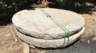 "LARGE GARDEN MILL STONE, SIZES RANGE FROM 56-60"" WIDE."