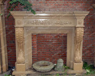 All hand carved granite fireplace mantel. This all started from a single block of marble and then was carved every inc by hand. Great detail, wonderful ageless design. This model can be made in modified versions to accommodate your firebox dimensions. Also available in wide range of marble colors, certain charges may apply. This piece measures: 65 wide x 60 tall x 13 deep. Opening measures: 34 wide x 34 tall.