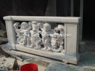 LOVELY DETAILED MARBLE BALUSTRADE FEATURING MULTIPLE CHERUBS POSING