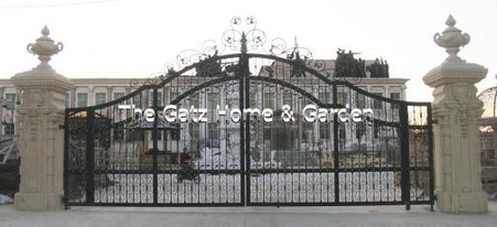 MONUMENTAL ESTATE GATE OR DRIVEWAY ENTRY SYSTEM WITH HUGE MARBLE COLUMNS, ALMOST 15 FEET TALL