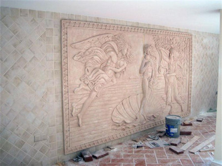 "LARGE HAND CARVED MARBLE WALL RELIEF OR PANEL DEPICTING ""THE BIRTH OF VENUS"""