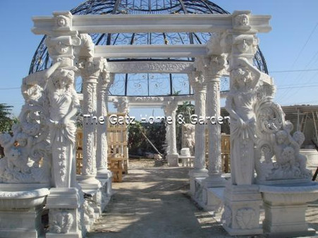 STATELY LARGE HAND CARVED MARBLE GAZEBO OR PAVILION WITH STATUARY, FOUNTAINS, DOMED TOP