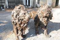HUGE PAIR OF BRONZE LIONS ROARING, HEAVY DETAIL, LARGE
