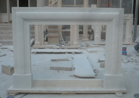 HAND CARVED MODERN FIREPLACE MANTEL, VERY SIMPLE, WHITE MARBLE