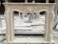 HAND CARVED FRENCH STYLE MARBLE FIREPLACE MANTEL IN EGYPT BEIGE, FLORAL CARVINGS Dimensions:  L: 65 x H: 49 x W: 11.8, Opening is L: 42 x H: 36 (Inches).