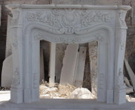 Intricate White Marble  Fireplace Mantel, French Design