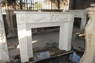 ITALIAN STYLE HAND CARVED MARBLE FIREPLACE MANTEL, WHITE MARBLE