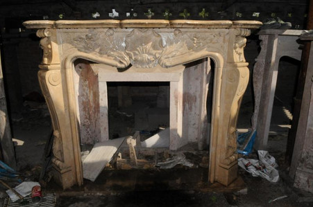 FRENCH ROCOCO FIREPLACE MARBLE MANTEL, FRENCH DESIGN Whole size: L:59 x H:47.6 x D:11.8 Opening: L:95 x H:88.   Before purchasing, please contact us for availability and shipping quote.