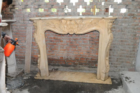 """HAND CARVED BEIGE MARBLE FIREPLACE MANTEL FRENCH DESIGN  Dimensions:  59""""L x 47.2""""H x 11.8""""W, Opening is 7.8""""L x 34.3""""H."""