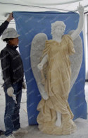 "PAIR OF LIFE SIZE MARBLE ANGELS, EXQUISITE CARVINGS 72"" TALL, RELIGIOUS"