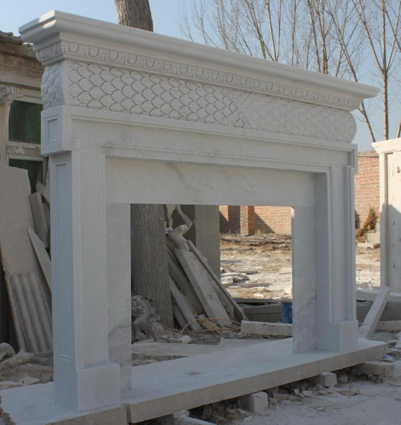 Hand Carved Fireplace Mantel Simple Design In White Marble