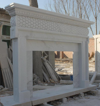 """HAND CARVED FIREPLACE MANTEL SIMPLE DESIGN IN WHITE MARBLE Dimensions: 81"""" wide x 54"""" tall x 10"""" deep. Opening: 42"""" wide x 30"""" tall. 7"""" framing border"""