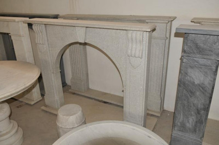 HAND CARVED MODERN WHITE MARBLE FIREPLACE MANTEL WITH ARCHED OPENING