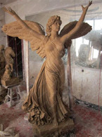 "LARGE HAND CARVED MARBLE ANGEL STATUE, NICE CHURCH OR CEMETERY STATUE 77"" TALL"