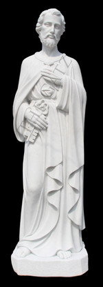 LARGE CHURCH STATUE; CLASSIC RENDERING OF ST. PETER THE EVANGELIST, MARBLE