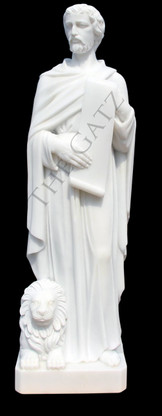 """LARGE CHURCH STATUE, CLASSIC RENDERING OF ST. MARK THE EVANGELIST, MARBLE, 61"""" TALL, RELIGIOUS"""