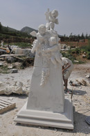 MARBLE MONUMENT OF 3 ANGELS WITH CROSS, NICE CEMETERY OR CHURCH STATUE Dimensions: 86.4 tall x 120d x 120w