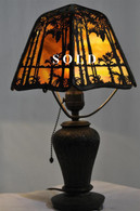 Vintage Handel Sunset Palm Boudoir Table Lamp, Signed  1920s
