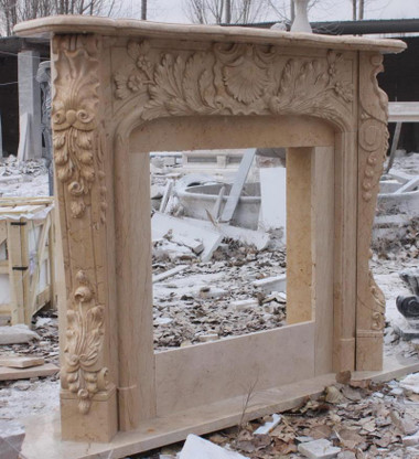 French Inspired Rococo Hand Carved Marble Fireplace Mantel