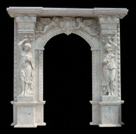 PALATIAL WHITE TRAVERTINE EXTERIOR DOOR SURROUND FEATURES TWO LIFESIZE LADIES AND FLYING ANGELS