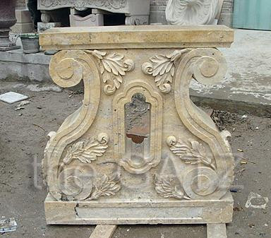 New hand carved marble table base. These two legs can be paired with a marble top or any top that you may already have. This design can be carved in any color marble. Measures: 28 wide x 8 thick x 29.5 tall.  Before purchasing please contact us for availability and for a shipping quote.