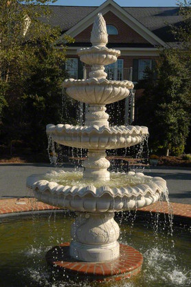 """LARGE FOUR TIER MARBLE FOUNTAIN WITH PINEAPPLE FINAL TOP, 92"""" TALL"""