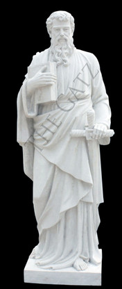 LARGE CHURCH STATUE; CLASSIC RENDERING OF ST. PAUL THE APOSTLE, WITH BOOK AND SWORD, RELIGIOUS