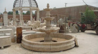 New hand carved Victorian style marble fountain. All hand carved from solid block beige marble. Great quality and detail in this piece. Measures: 122 wide x 89 tall.