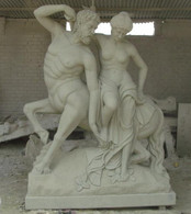 This is a statue that was just completed. All Hand carved from sandstone. This statue depicts a Centaur from Greek Mythology helping a woman in distress. Amazing quality and very unique design. This is a massive statue! Measures: 79 tall x 57 wide.