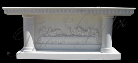 SOLID HAND CARVED MARBLE RELIGIOUS ALTAR
