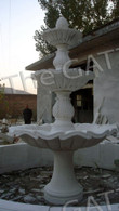 """HAND CARVED 3 TIER MARBLE FOUNTAIN WITH BASIN SURROUND 95"""" TALL, 147"""" WIDE Measures: 95.5 tall x 147 wide"""