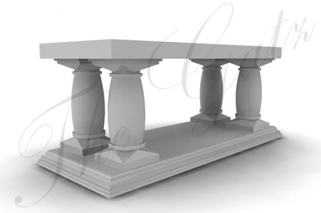 "LONG MARBLE ALTAR TABLE, FOUR PEDESTALS OVER MARBLE TOP, 102"" WIDE, RELIGIOUS"