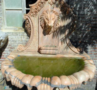 "ELEGANT MARBLE LION WALL FOUNTAIN 65.5"" WIDE"