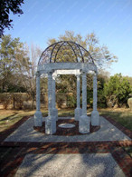 HAND CARVED WHITE MARBLE GAZEBO, HEAVY CARVINGS WITH OPEN DOMED ROOF Measures: 114 wide x 165.5 tall.