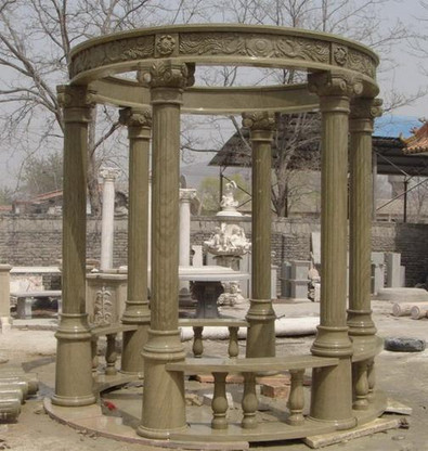 """LARGE ROUND MARBLE GAZEBO WITH DOMED TOP, FLUTED COLUMNS, BENCH SEATING 175"""" TALL"""