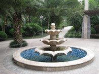 ELEGANT SCALLOPED EDGED GRANITE FOUNTAIN WITH 3 TIERS OF CASCADING WATER
