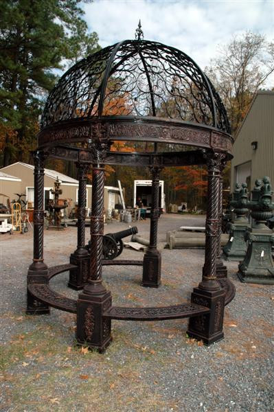 Gazebo In Cast Iron Domed Open Roof Bench Seating 10 Foot