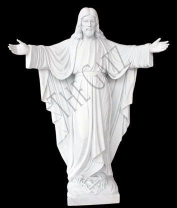 """HAND CARVED WELCOMING JESUS MARBLE STATUE 72"""" LIFE SIZE"""