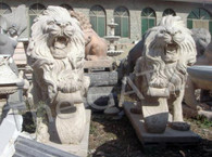 """Pair of Roaring Marble Estate Lions with Foot on Shield 47"""" Tall"""