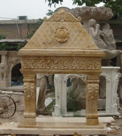 UNIQUE HAND CARVED MARBLE FIREPLACE SURROUND WITH OVERMANTEL