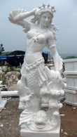 STUNNING MARBLE STATUE OF MERMAID WITH DOLPHINS, 82 INCHES TALL IN WHITE MARBLE