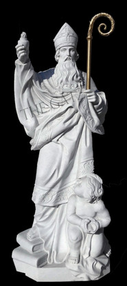 """Hand carved marble statue depicting St. Augustine 48"""" tall."""