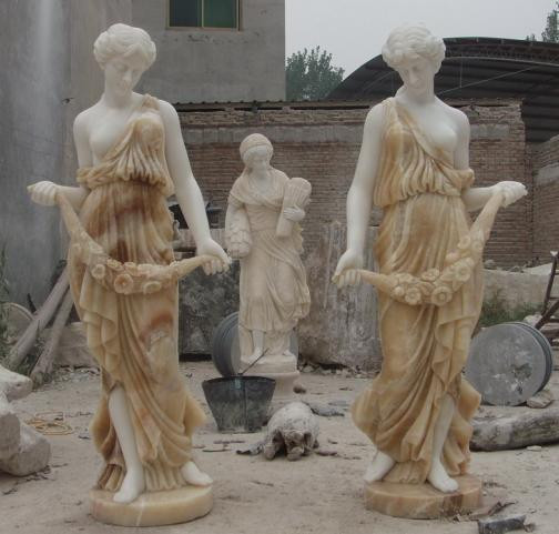Marble Statues Victorian Ladies Two Tone Marble