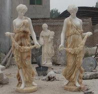 LIFE SIZE PAIR OF VICTORIAN MARBLE LADY STATUES IN TWO TONE MARBLE