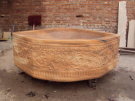 LARGE HAND CARVED MARBLE BATH TUB, GARDEN TROUTH OR BASIN IN SUNSET ORANGE
