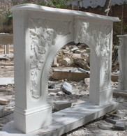 Hand carved Marble French Fireplace Mantel, White Marble #6245